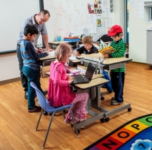 Adjustable sit/stand desks promote better concentration, posture, and health for children